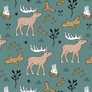 Little moose adventures mountains and wild life park winter theme boys gray ochre