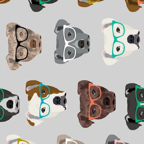 LARGE - pitbull heads glasses fabric - pitbull fabric, dog fabric, pitty fabric, glasses fabric, dog glasses fabric - cute dog - grey