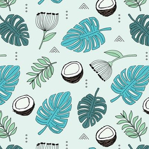 Coconut island jungle leaves monstera and palm leaves tropical summer design blue green