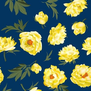 yellow peonies on navy