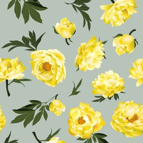 yellow peonies on sage green