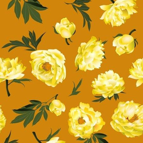 yellow peonies on copper