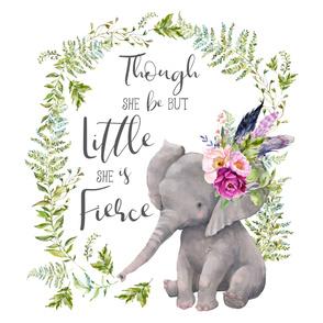 """54""""x72"""" Though She Be Fierce Lilac Elephant"""