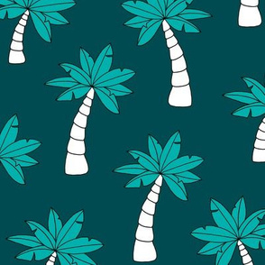 Palm tree jungle and little tropical garden surf print theme summer ocean green blue JUMBO