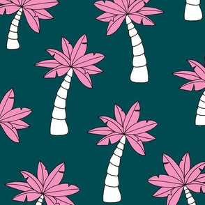 Palm tree jungle and little tropical garden surf print theme summer ocean teal pink JUMBO