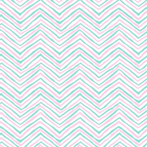 ballet pink and aqua zig zag chevron