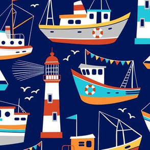 fishing boats - dark blue, large