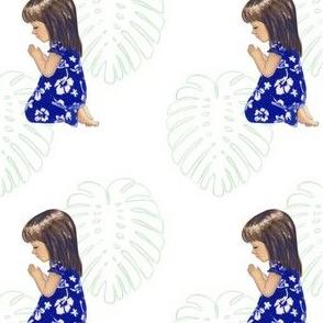 Cute Hawaiian Girl Praying (leaf motif)