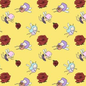 Fairies and Red Roses on Yellow Background