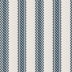 Blue Ticking Stripe Medium Bordered by Thin Stripe