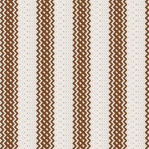 Brown Ticking Stripe Medium Bordered by Thin Stripe