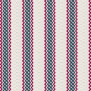 Blue Ticking Stripe Medium Bordered by Thin Red Violet Stripe