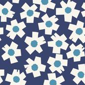 Square Flowers in denim blue, teal, cream