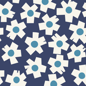 Square Flowers in denim blue, teal, cream