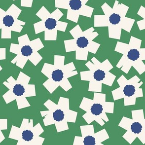 Square Flowers in lawn green and denim blue