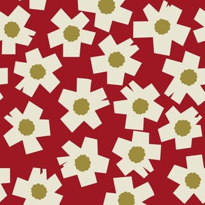 Square Flowers in rust red, olive green, cream