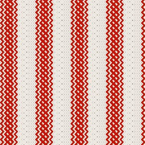 Red Ticking Stripe Medium Bordered by Thin Stripe