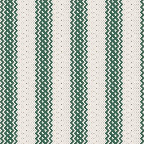 Green Ticking Stripe Medium Bordered by Thin Stripe