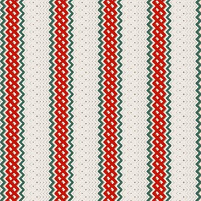 Christmas Red Ticking Stripe Medium Bordered by Thin Green Stripe
