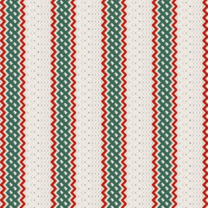 Christmas Green Ticking Stripe Medium Bordered by Thin Red Stripe