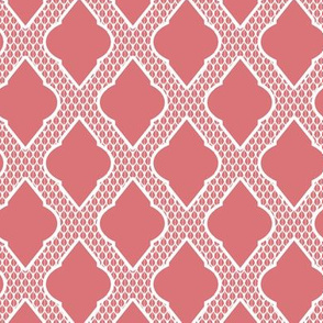 Moroccan Lattice in Pink and White
