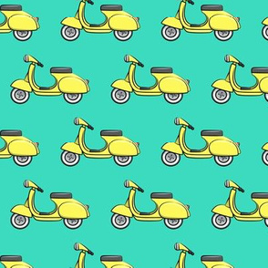 scooter - moped - yellow on teal -  LAD19