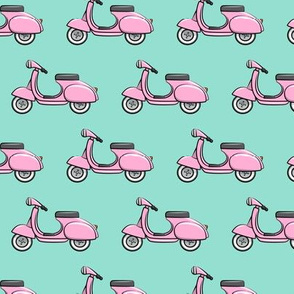 scooter - moped - pink on aqua - LAD19
