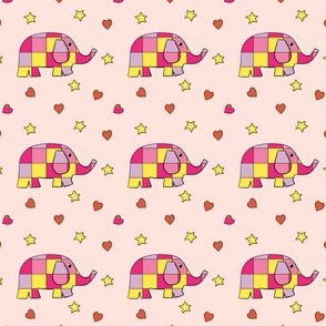 Cute Checkered Elephants Pink