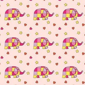 Cute Checkered Elephants Pink