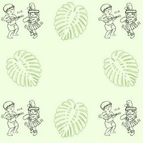 Cute Hawaiian Kids Black Line Green