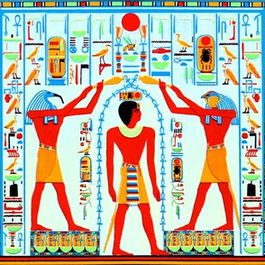 ancient egypt egyptian pharaoh gods kings hieroglyphics Ankh Horus Thoth Falcon Ibis birds life orange brown blue red royalty tribal sun Green scarab beetle cobra snakes birds
