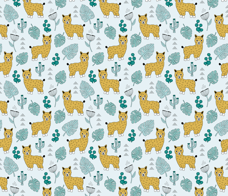Sweet summer Llama garden with monstera leaves and cacti flowers ochre blue fabric by littlesmilemakers on Spoonflower - custom fabric