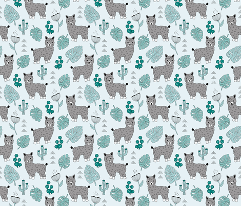 Sweet summer Llama garden with monstera leaves and cacti flowers gray blue fabric by littlesmilemakers on Spoonflower - custom fabric