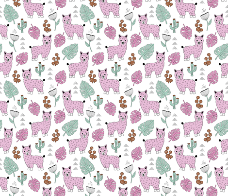 Sweet summer Llama garden with monstera leaves and cacti flowers mint pink fabric by littlesmilemakers on Spoonflower - custom fabric