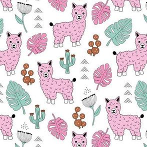 Sweet summer Llama garden with monstera leaves and cacti flowers mint pink