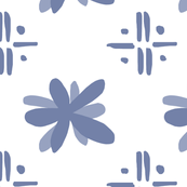 Modern Flowers and Scribbles in Blue
