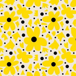 Hope Daisies on bone - yellow stencils + black