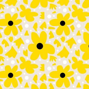 Hope Daisies on bone - yellow stencils on bone + B/W