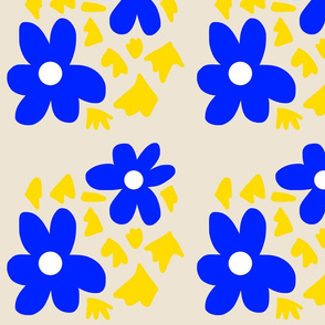Daisy Stencil - blue and yellow on beige