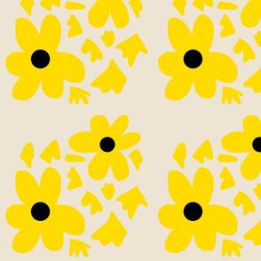 Daisy Stencil - yellow on beige