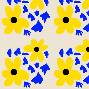 Daisy Stencil - yellow and blue on beige