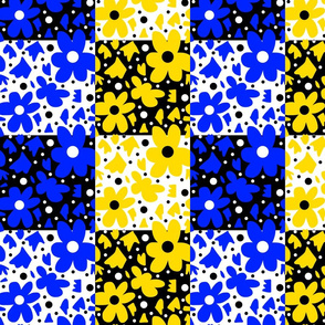 Hope Patchwork - black and white + yellow and blue
