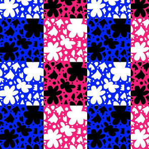 Hope Patchwork- Blue and pink + black and white