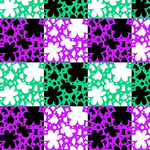 Hope Patchwork- purple and green + black and white