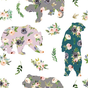 bear patchwork floral
