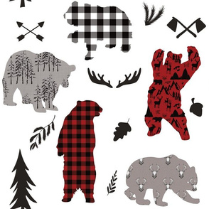 wild bear buffalo plaid