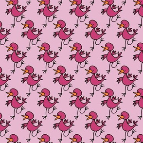 Happy dancing bird -pink