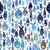 Blue watercolour fish - larger scale - rotated