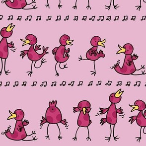 Birds learning to dance -pink