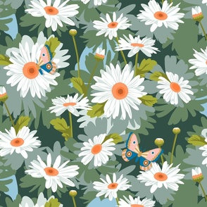 Daisy Love* || paint by number daisy daisies flowers floral butterfly moth midcentury garden painting summer